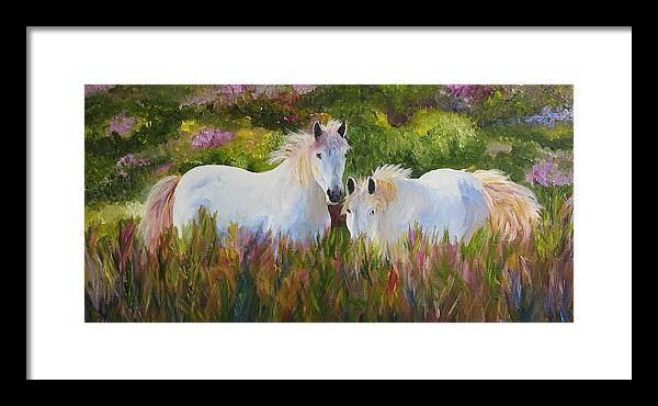 Horse Framed Print featuring the painting Two Friends by Mary Jo Zorad