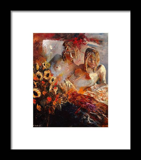 Girl Nude Framed Print featuring the painting Two Friends by Pol Ledent