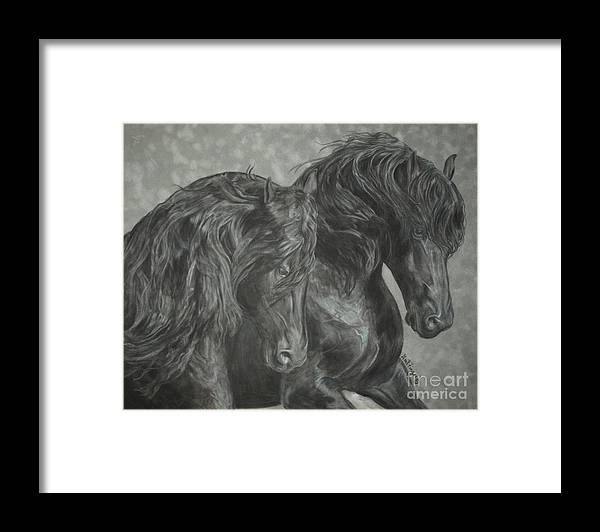 Horses Framed Print featuring the painting Two Friesian Stallions by Gail Finger