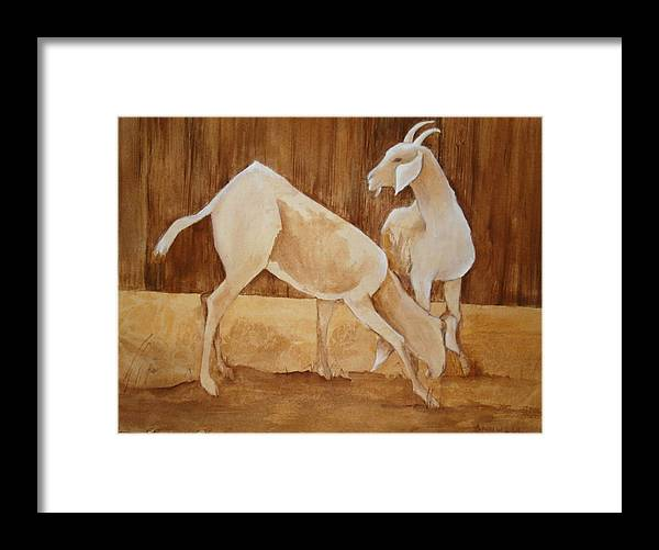 This Is A Framed And Matted Watercolor Painting Of Two White Goats In Hues Of Sepia And White. Framed Print featuring the painting Two Goats In Sepia by Georgia Annwell