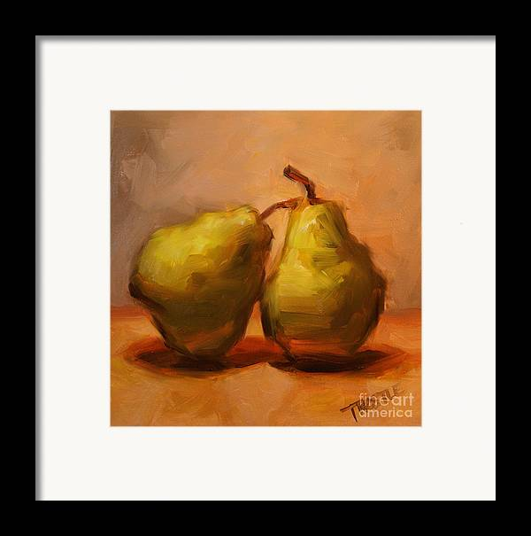 Pears Framed Print featuring the painting Two Green Pairs Print Lean On Me by Patti Trostle
