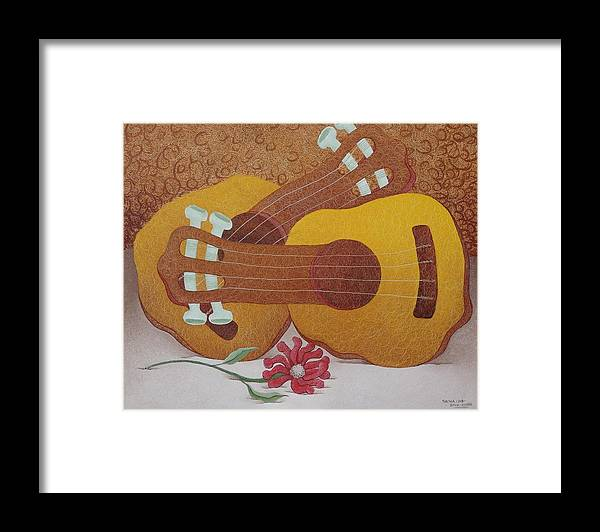 Sacha Circulism Circulismo Toothpicks Painting Framed Print featuring the painting Two Guitars by S A C H A - Circulism Technique