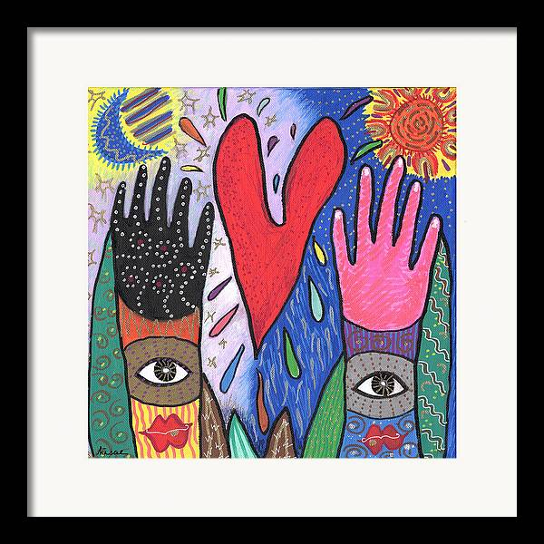 Multicultural Framed Print featuring the painting Two Hands by Sharon Nishihara