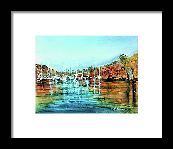 Two Harbors Framed Print featuring the painting Two Harbors Catalina Morning Impressions by Debbie Lewis