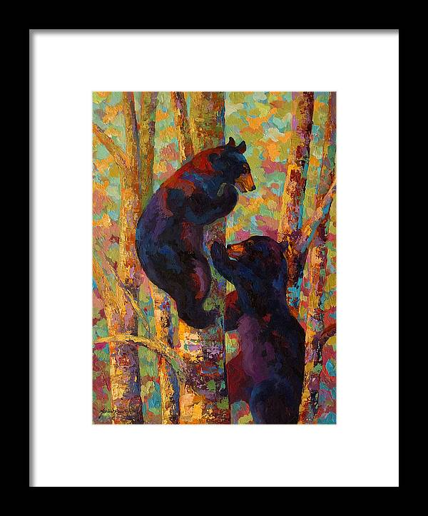 Bear Framed Print featuring the painting Two High - Black Bear Cubs by Marion Rose
