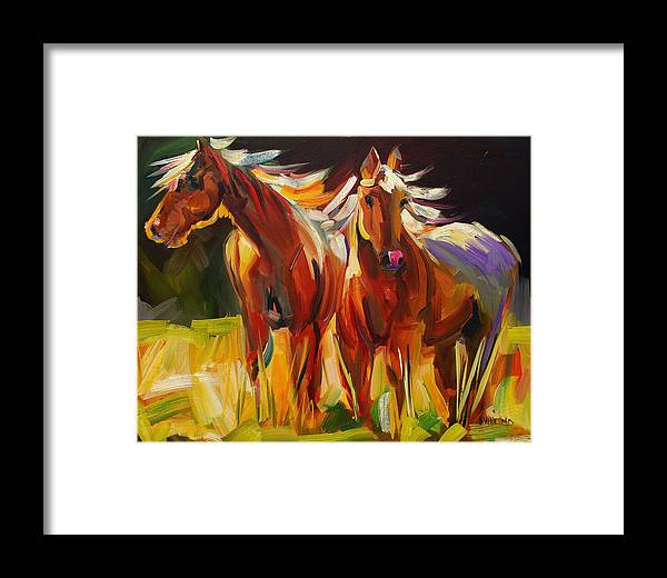 Painting Framed Print featuring the painting Two Horse Town by Diane Whitehead