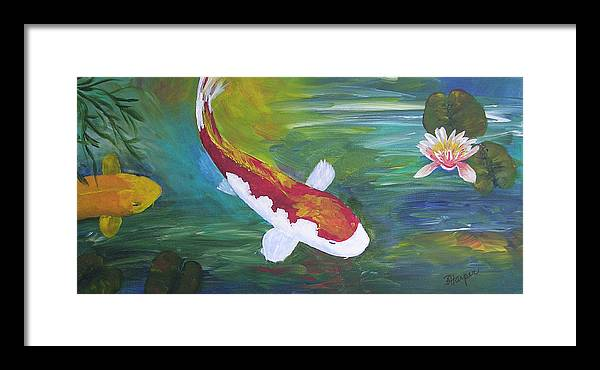 Koi Framed Print featuring the painting Two Koi And Water Lily by Barbara Harper