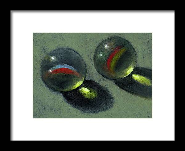 Marbles Framed Print featuring the pastel Two Marbles In Pastel by Joyce Geleynse