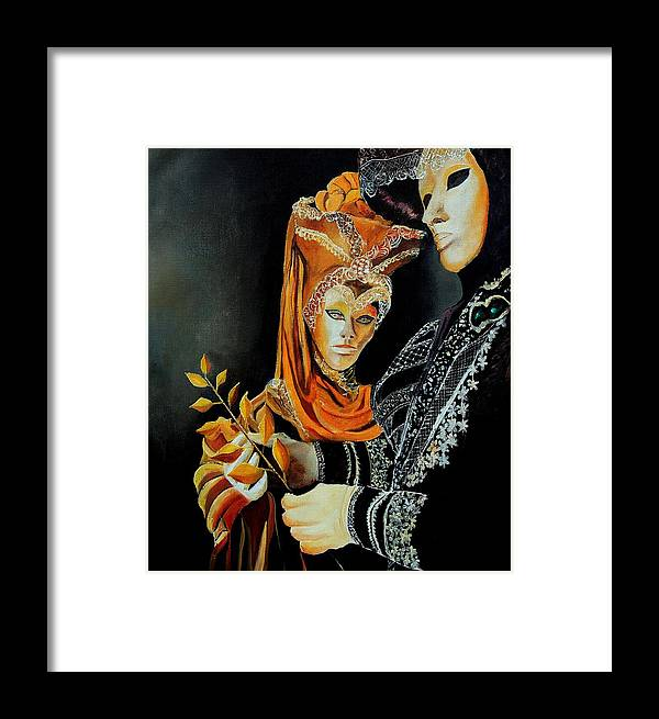 Mask Venice Carnavail Italy Framed Print featuring the painting Two Masks In Venice by Pol Ledent