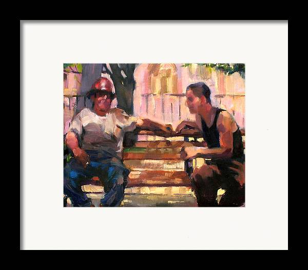 Men Framed Print featuring the painting Two Men On A Bench by Merle Keller