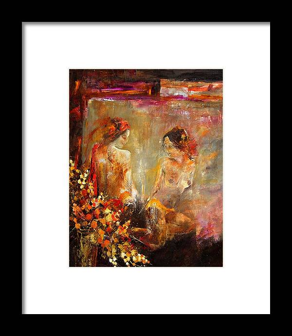 Girl Nude Framed Print featuring the painting Two Nudes by Pol Ledent