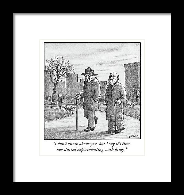 Cane Framed Print featuring the drawing Two Older Men Walk With Canes Through A Park. by Harry Bliss