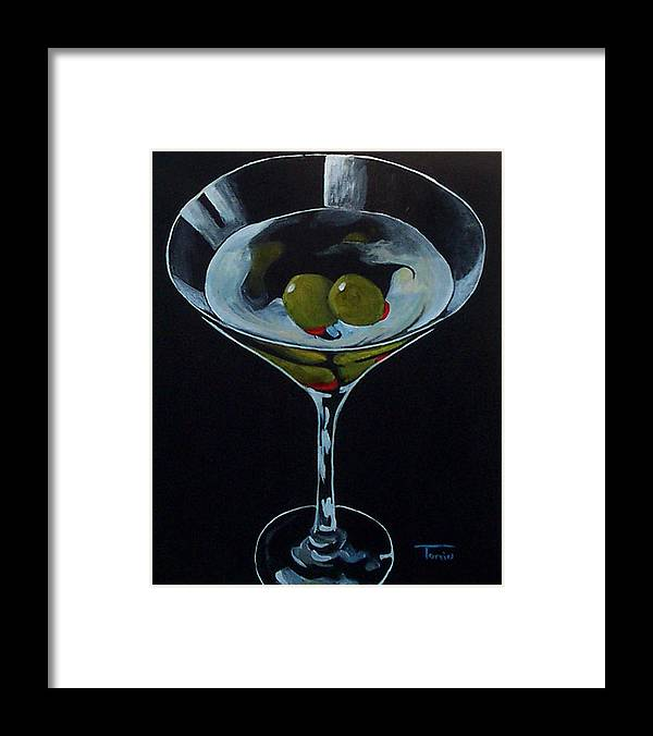 Martini Framed Print featuring the painting Two Olive Martini by Torrie Smiley