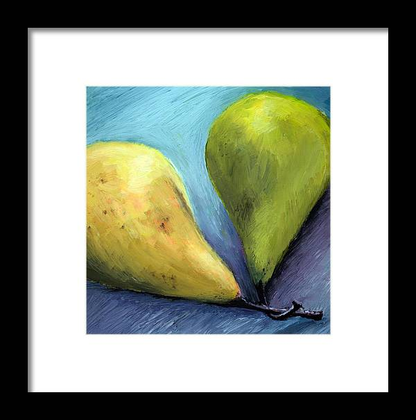 Pear Framed Print featuring the painting Two Pears Still Life by Michelle Calkins