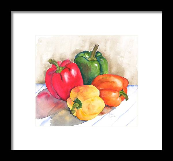 Food Framed Print featuring the painting Two Peppers by Diane Ziemski