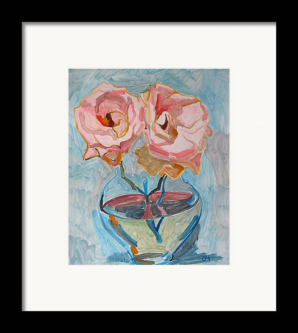 Rose Framed Print featuring the painting Two Pink Roses by Vitali Komarov
