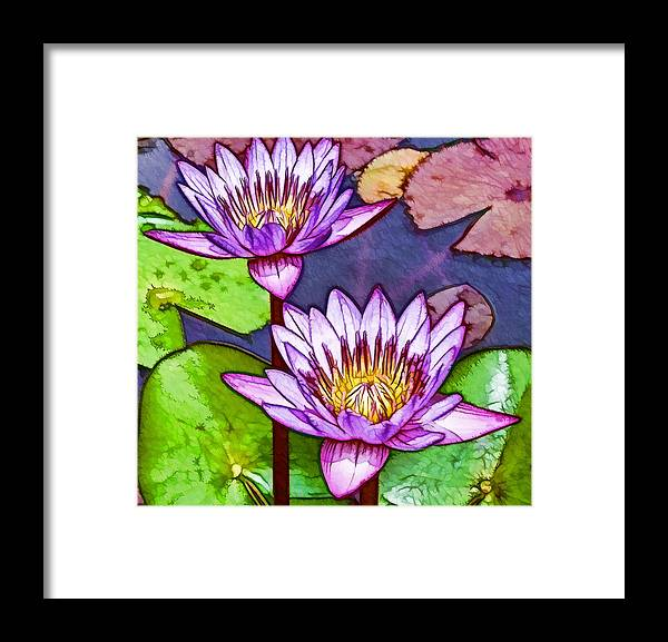 Pink Lotus Flower Framed Print featuring the painting Two Purple Lotus Flower by Jeelan Clark