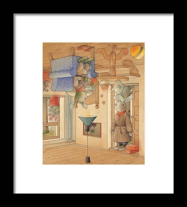 Rabbits Framed Print featuring the painting Two Rabbits by Kestutis Kasparavicius