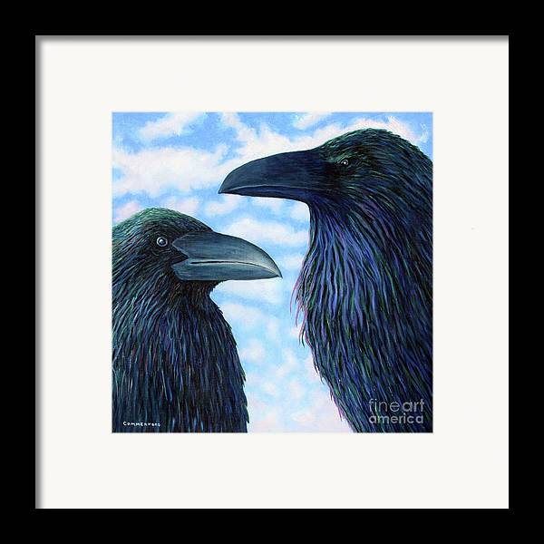 Raven Framed Print featuring the painting Two Ravens by Brian Commerford