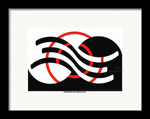 Op-art Framed Print featuring the mixed media Two Red Circles by Heike Schenk-Arena