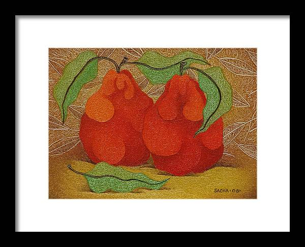 Sacha Framed Print featuring the painting Two Red Quinces 2008 by S A C H A - Circulism Technique