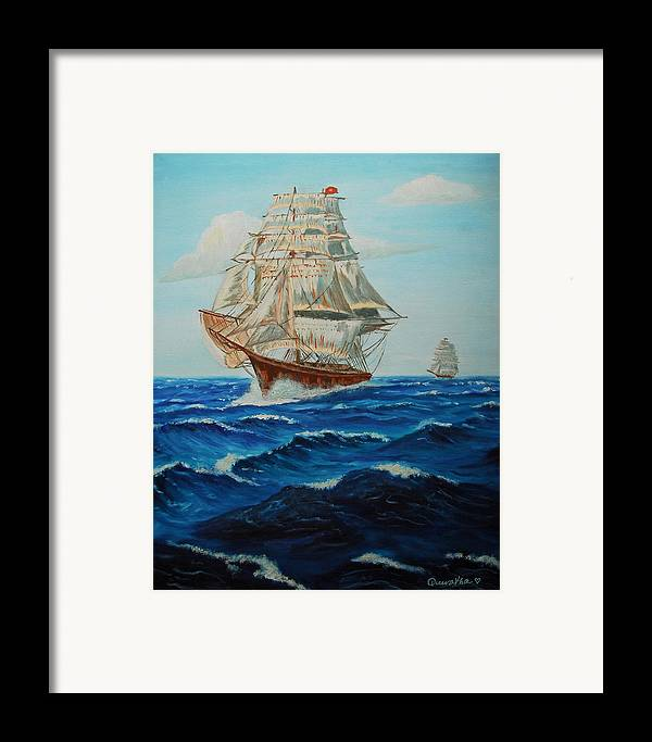 Ship Framed Print featuring the painting Two Ships Sailing by Quwatha Valentine