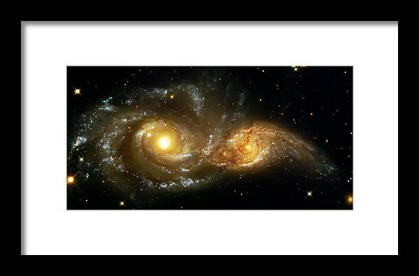 Nebula Framed Print featuring the photograph Two Spiral Galaxies by Jennifer Rondinelli Reilly - Fine Art Photography