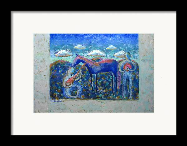 Horse Framed Print featuring the painting Two Spirits by Aliza Souleyeva-Alexander