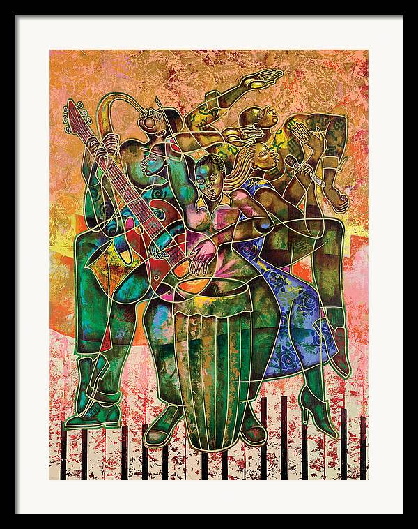 Figurative Framed Print featuring the painting Two Street Sounds by Larry Poncho Brown