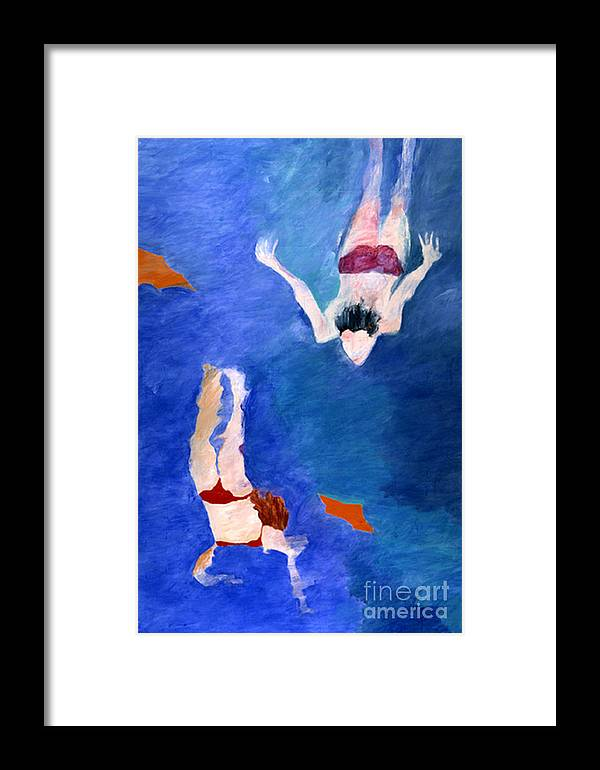 Water. Swim Framed Print featuring the painting Two Swimmers by Lisa Baack
