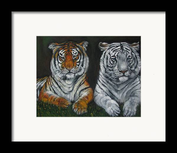 Tigers Framed Print featuring the painting Two Tigers Oil Painting by Natalja Picugina