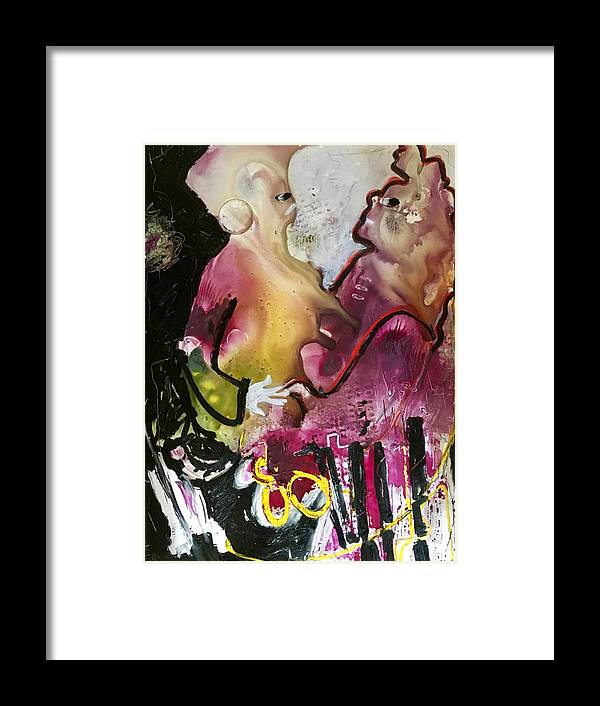 Abstract Framed Print featuring the painting Two To Tango by Carole Johnson