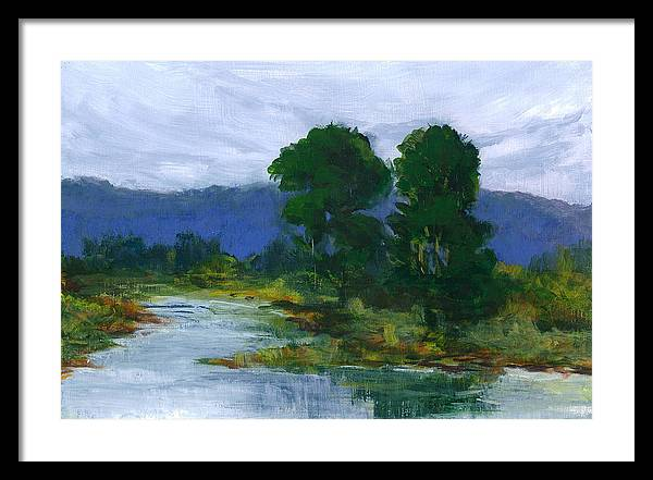 Bay View In Palo Alto California. Painted On Sie En Plain Aire During High Tide. Framed Print featuring the painting Two Trees In The Bay Land by Barbara Moore