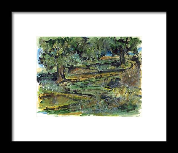 Trees Framed Print featuring the painting Two Trees by Lily Hymen