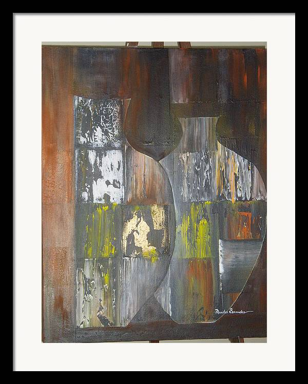 Vases Framed Print featuring the painting Two Vases by Maritza Bermudez