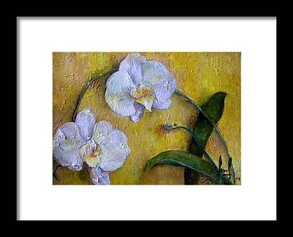 Framed Print featuring the painting Two White Orchids by Carol P Kingsley