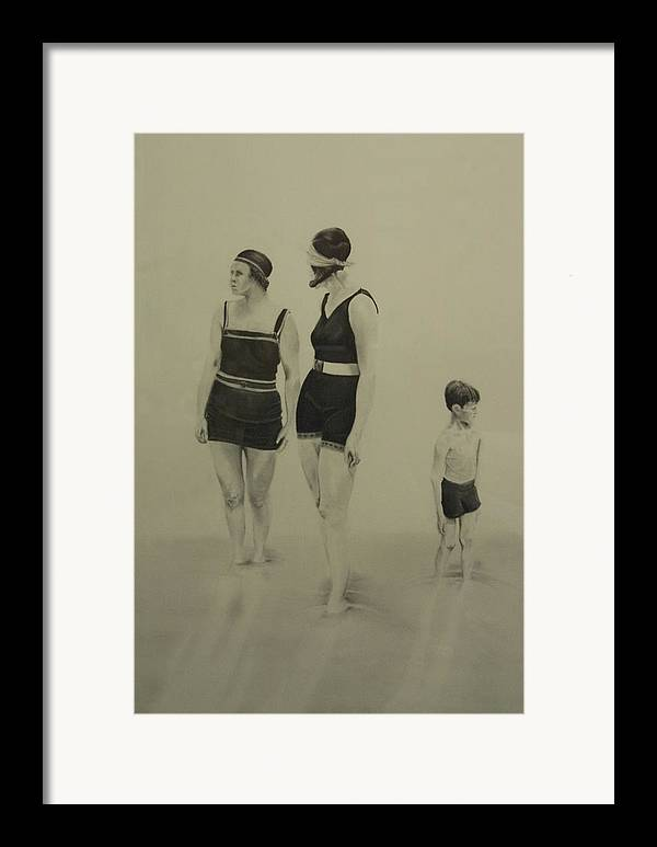 Figurative Framed Print featuring the drawing Two Women Bathers With Child by John C