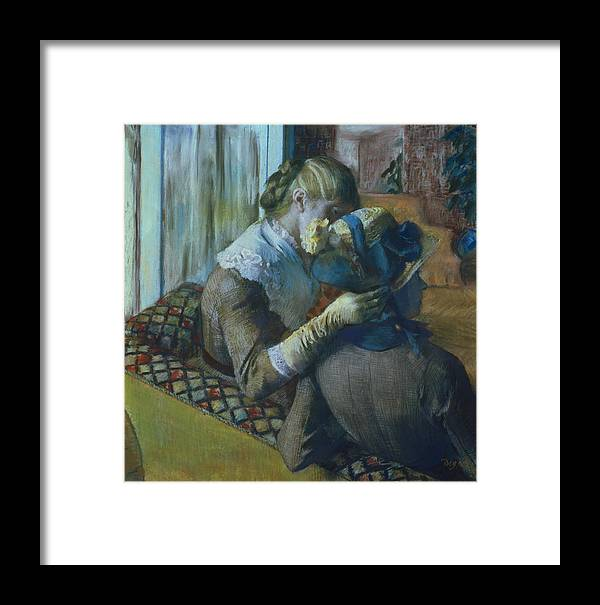 Impressionist; Female; Interior; Bonnet; Sofa; Seated; Caress; Lesbian; Annenberg Collection; Palm Springs; Straw Hat; Boater; Ribbon; Femme; Amie; Amitie; Confidence; Intimite; Conversation; Amies Framed Print featuring the painting Two Women by Edgar Degas