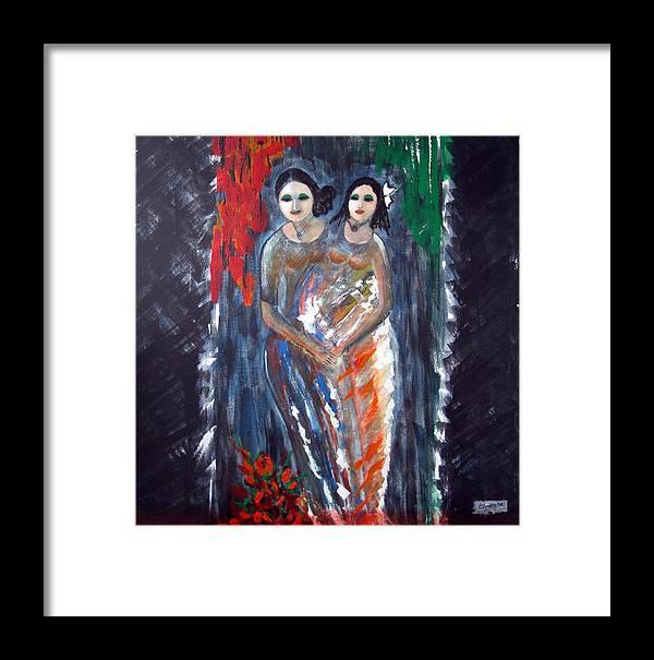 Women Framed Print featuring the painting Two Women by Narayanan Ramachandran