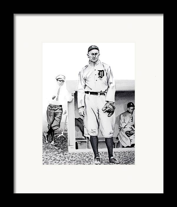 Baseball Framed Print featuring the painting Ty Cobb by Ferrel Cordle