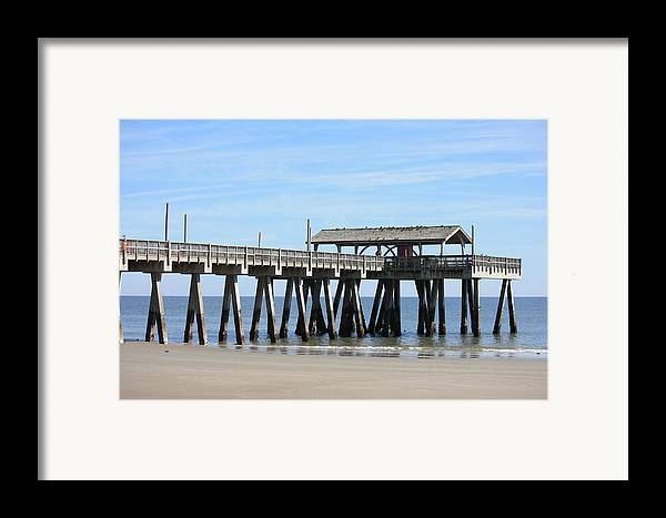 Tybee Island Pier Framed Print featuring the photograph Tybee Island Pier Closeup by Carol Groenen