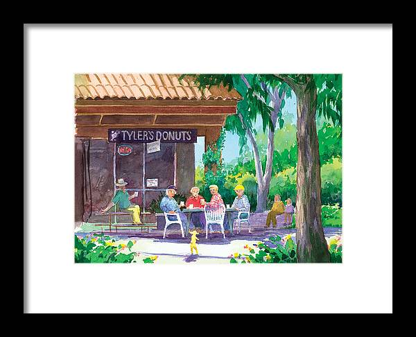 Old Men Framed Print featuring the painting Tylers Donuts by Ray Cole