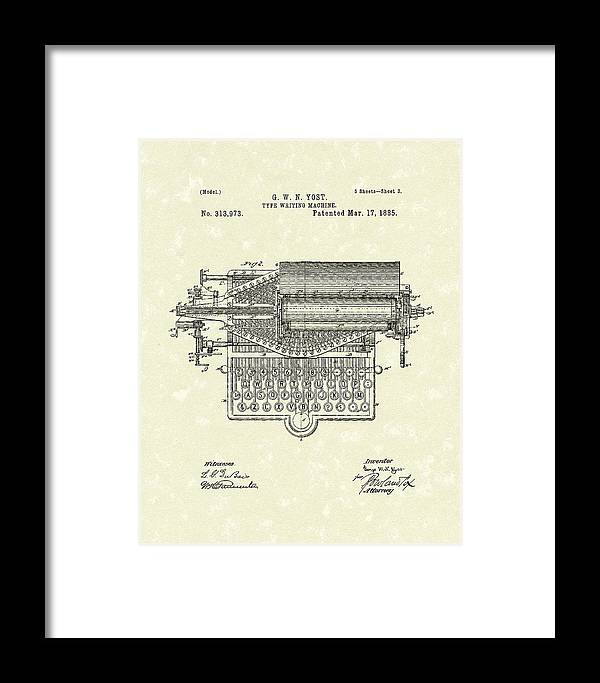 Yost Framed Print featuring the drawing Type Writer 1885 Patent Art by Prior Art Design