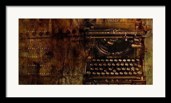 Typewriter Poetry Writing Framed Print featuring the photograph Typewriter by Inesa Kayuta