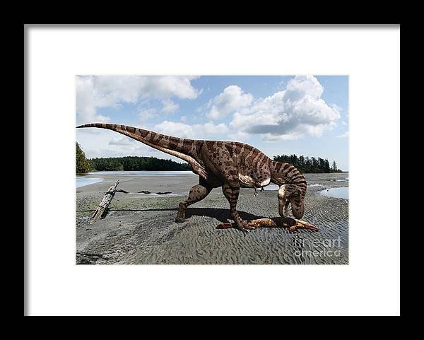Dinosaur Framed Print featuring the digital art Tyrannosaurus enjoying seafood by Julius Csotonyi
