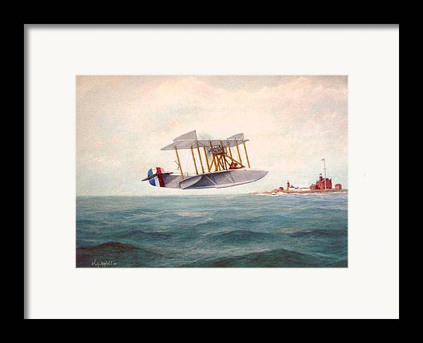 Airplane Framed Print featuring the painting U. S. Coast Guard - Curtiss Flying Boat by William H RaVell III
