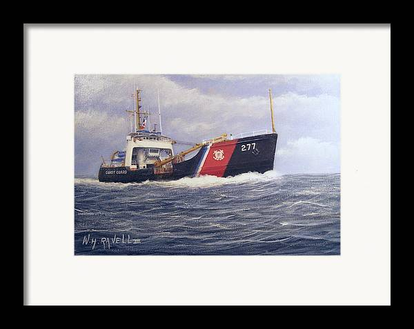 Seascape Framed Print featuring the painting U. S. Coast Guard Buoy Tender by William H RaVell III