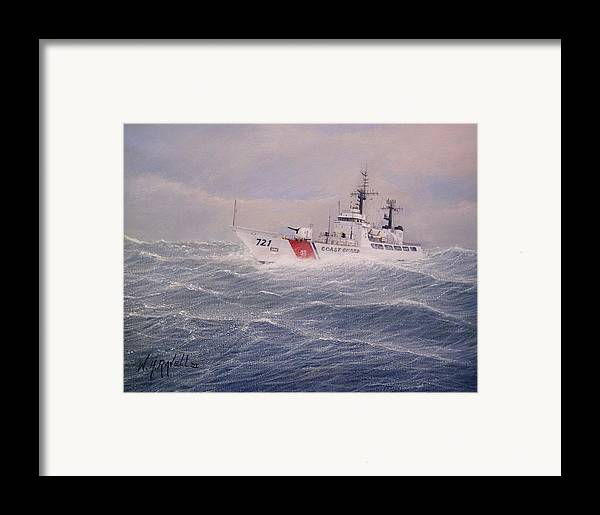 Ship Framed Print featuring the painting U. S. Coast Guard Cutter Gallitin by William H RaVell III