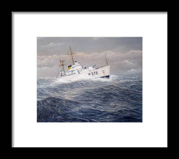 Coast Guard Cutter Framed Print featuring the painting U. S. Coast Guard Cutter Halfmoon by William Ravell