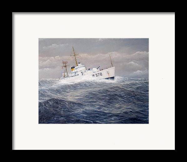 Coast Guard Cutter Framed Print featuring the painting U. S. Coast Guard Cutter Halfmoon by William H RaVell III